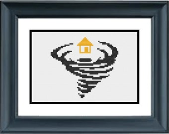 House in a Twister - Wizard of Oz - Wicked - PDF Cross-Stitch Pattern