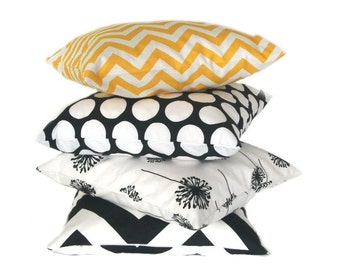 Pillow sleeve CHEVRON stripe linen optic 50 x 50 cm yellow white zigzag