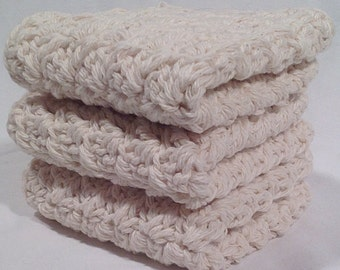 Cotton Crochet Washcloth Set - Natural
