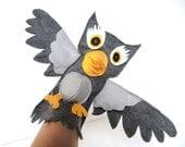 Hand Puppet Toy Grey Owl Eco Boys Environmentally Friendly Eco-fi Felt Childs Birthday Animal Christmas Tree Topper Gray Bird Kids Critter