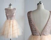 Champagne Gold Sequins Tulle Dress Bridesmaid Dress/Prom Dress Deep V Back/Backless Knee Length Short Dress