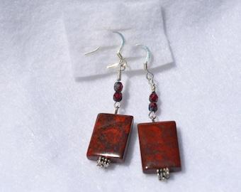 Jasper and Czech bead Dangle Earrings