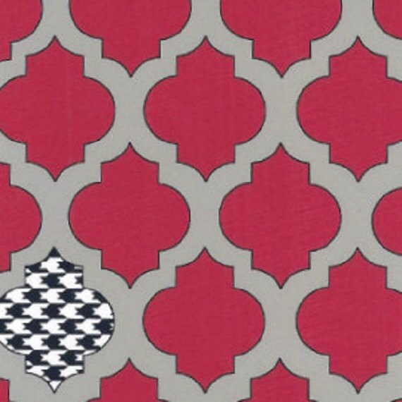 Cockerels Are Scattered All Over This Fabric Made From: Fabric Finders Red And Gray Quatrefoil With Houndstooth