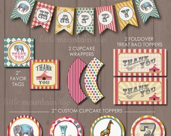 Circus CUSTOM Pink Vintage Printable Birthday Party Complete Package - Pink Version - PDF