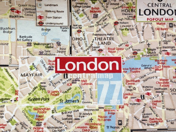 Nautical london map tourist souvenir duvet by thefabricshopuk