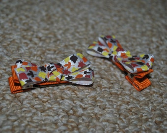 Ribbon Bow hair clip set - Fall Leaves and Orange ribbon - ClipItUp