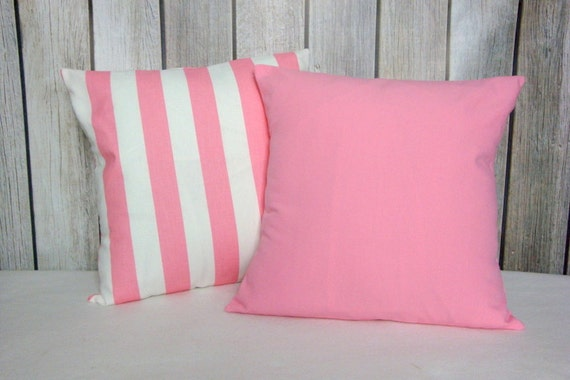 Nursery Pillow. Pillow Cover. Nursery Decor. Pink Pillow. Pink and White Pillow. Striped Pillow. Solid Pink Pillow