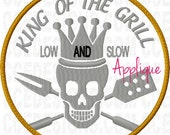 King of the Grill Skull Applique Machine Embroidery Design