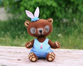 Summer Party Summer Outdoors Artist Teddy Bear Darlene5.1 inches (13 cm) handmade collectible jointed OOAK Teddy Bear staffed toy