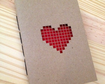 Laser Cut Pixel Heart Mini Hand Stitched Journal