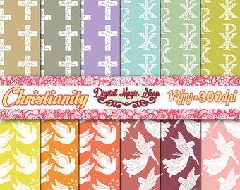 Christianity Digital Paper multi color - 12 pcs 300 dpi - for Scrapbooking, Cards, Invites, Photographers, Crafts - digital paper Communion