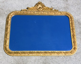 Rounded Rectangular Plaster And Wood Ornate Gold Framed Vintage Mirror