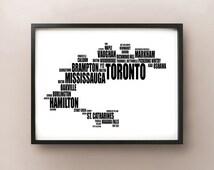 Toronto Typography Map - GTA/Golden Horseshoe City Fonts