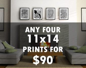 "4 Prints for 90 USD - Choose any four 11"" x 14"" prints for the price of 3 - Multiple Discount - Map Prints Art Decor"