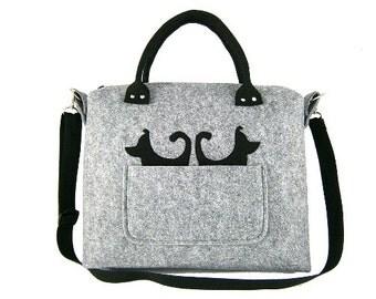 FELT BAG / in hand/ in shoulder / gray black / Two black dogs/strap