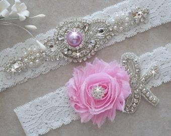 ALANA Style A-Vintage Inspired Wedding Garter Set, Bridal Garter Set, Off White Lace Garter, Rhinestone Crystal
