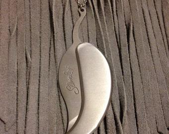 Silver Steel Leaf Pocket Knife Necklace