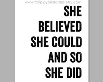 "50% Off Sale She Believed She Could Wall Art Graduation Gift Baby Gift Girls Room Decor So She Did Print INSTANT DOWNLOAD - 8""x10"" Print"