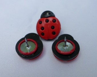 Ladybug Button Thumbtacks, whimsical office, college dorm, classroom decor - Ladybug Collector, teacher gift-stocking stuffer under 5