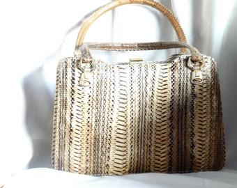 Vintage Snakeskin Handbag, Vintage Handbag, Retro Handbag