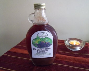 Elderberry Fusion - An elderberry syrup infused with rose hips and wild cherry to cure what ails ya!