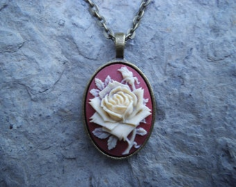 Beautiful Rose Cameo Necklace - Bronze Setting, Bronze Chain - Christams