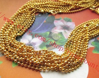 Wholesale 10pcs 20 inch Gold Plated 2.4mm Facet Ball chain necklace with lobster clasps--very shiny