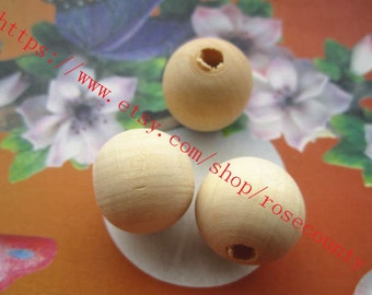 Wholesale 100pcs 20mm original round wood beads findings--unfinished--hole 4.5mm