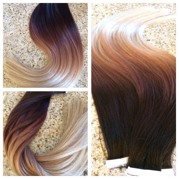 5 star ombre balayage european remy tape in seamless weft hair zoom pmusecretfo Image collections