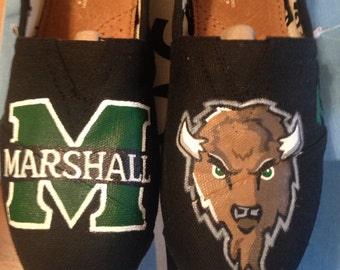 Marshall University Hand Painted Toms Shoes