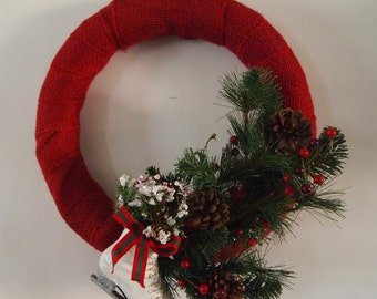 Red Ice Skate Burlap Winter Wreath