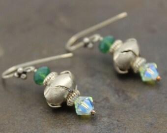 09 - Sterling Silver, Palace Green Opal Swarovski Dangle Earrings, Emerald, One of a Kind, OOAK