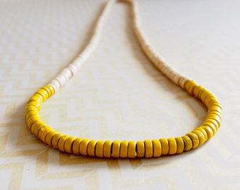 Yellow and cream wooden colour block rondelle bead necklace