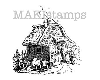 Fairy tale stamp / Gingerbread Cottage from Hansel and Gretel / Unmounted rubber stamp (140311)