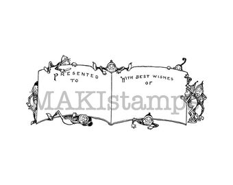 Brownie booklet stamp / label rubber stamp for christmas gift wrapping or DIY albums / unmounted rubber stamp or cling stamp (140602)