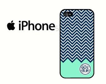 iPhone 6 Case Monogram Navy Mint Chevron iPhone 5S Case, iPhone 4 Case, iPhone 5 Case, iPhone 5C Case