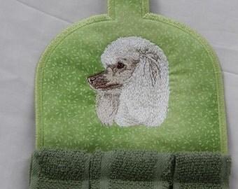 Poodle, white, Kitchen Towel Topper