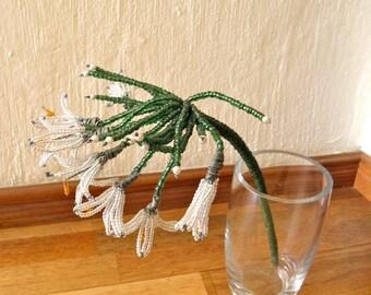 African Beaded Wire Flower - SNOWDROP FLOWER - White