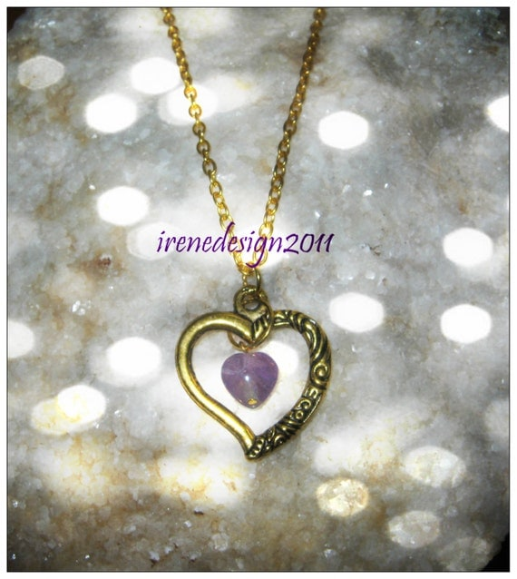 Handmade Gold Necklace with Amethyst Heart in Heart by IreneDesign2011
