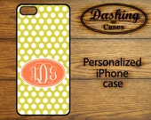 Personalized iPhone Case Plastic or Rubber iPhone case Monogram iPhone 4s case iPhone 5 case Yellow Orange polka dot monogram case 056