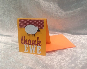 Thank 'Ewe' cards, thank you card set of 4
