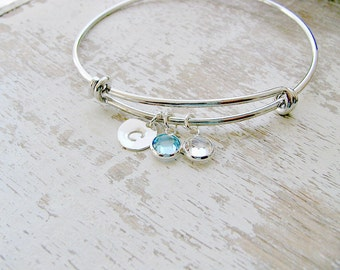 Personalized Initial Bangle Aquamarine birthstone Bangle monogram initial Aquamarine Jewelry monogram jewelry 925 Silver Letter circle disc