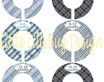 6 Custom Baby Closet Dividers Organizers Blue, Grey and Black Plaid Baby Boy Nursery Shower Gift - Clothes Dividers