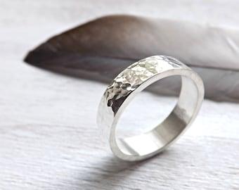 mens silver ring, mens wedding band silver, silver ring ballpoint hammered, rustic mens ring, rustic wedding band silver engagement ring men