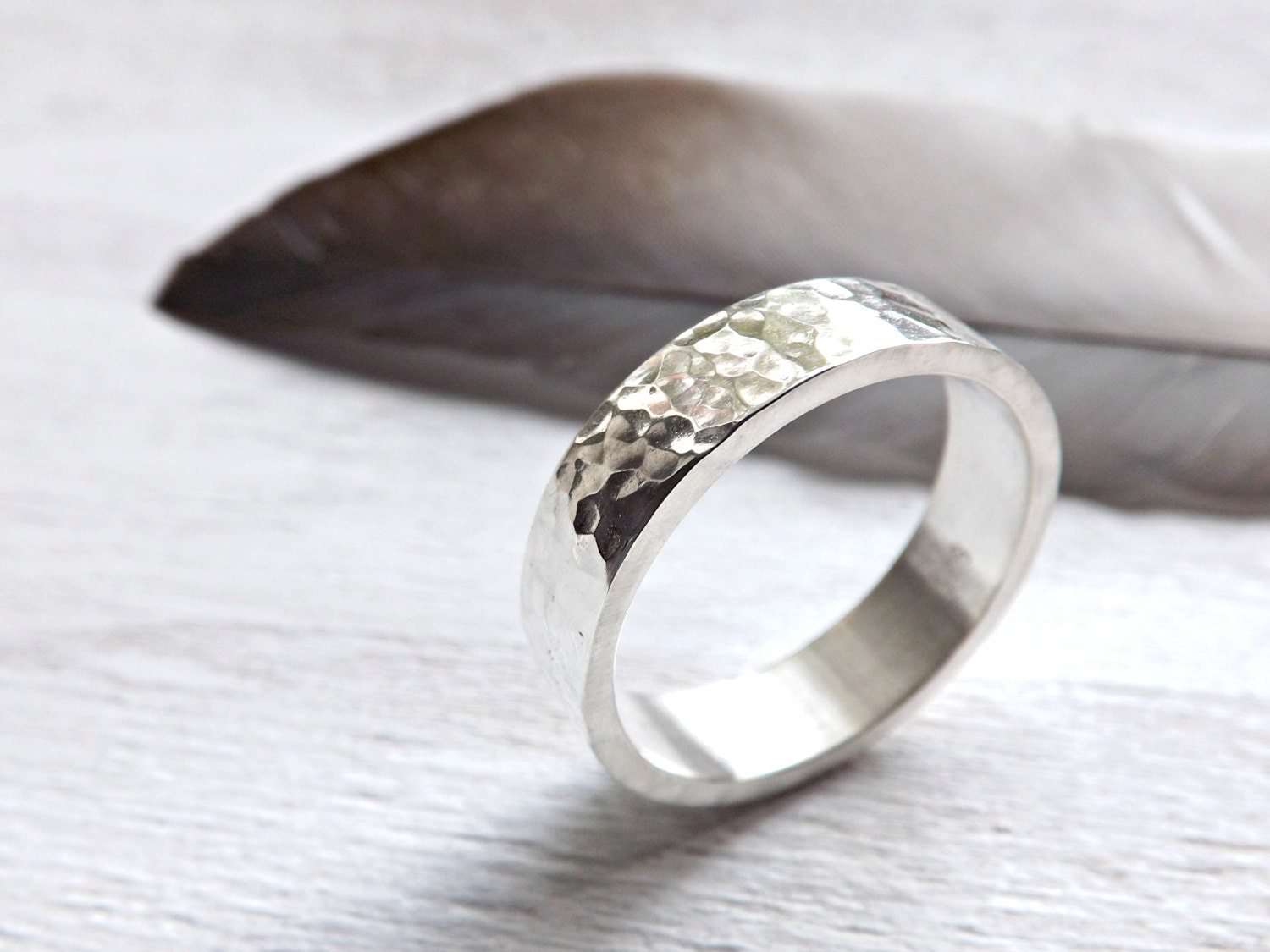 mens silver ring forged mens wedding band silver ring