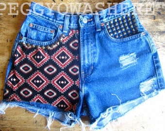 Vintage 1990's high waist cut off denim Boho Festival shorts ethnic southwestern patch Stud moto