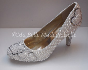 Crystal Hearts Pearl & Crystal Bridal Shoe's