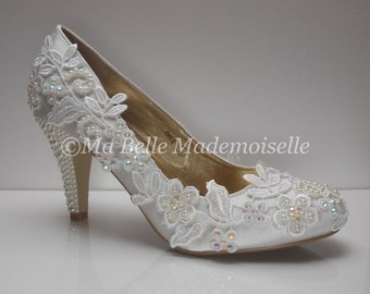 Ivory Lace Wedding Shoes, Lace Wedding Shoes, Lace Bridal Shoes, Pearl Wedding Shoes, Ivory Wedding Shoes, Wedding Shoes, Bridal Shoes