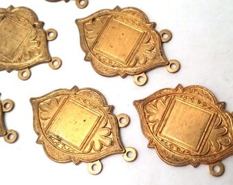 6x Vintage Art Nouveau Deco Solid Brass Victorian Stamping Findings