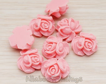 CBC214-01-RP // Rose Pink Colored Full Bloom Rose Flower Flat Back Cabochon, 4 Pc